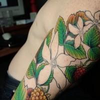 Realistic coloured flowers sleeve tattoo