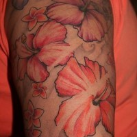 Tender pink flowers sleeve tattoo