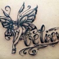 Small fairy black ink tattoo