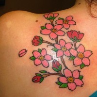 Small pink flowers and blossom tattoo