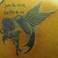 Small hummingbird memorial tattoo
