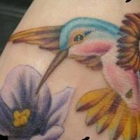 Small hummingbird in details tattoo
