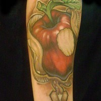 Demon serpent and apple tattoo