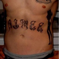 Stomach tattoo, two thin beautigul evil girls and inscription