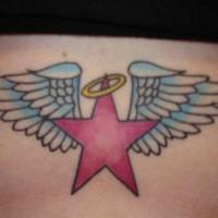 Tatuaggio sulla pancia la stella rossa con le ali