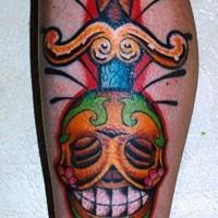 Sugar skull  tattoo, designed red with skull dagger