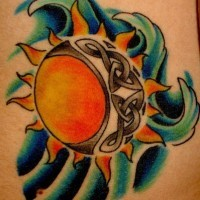 Sun and celtic moon tattoo in colour
