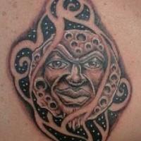 Angry humanized full moon tattoo