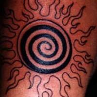 Black ink spiral sun tattoo