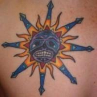 Coloured sun of war tattoo