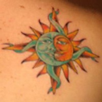 Sun and moon classic tattoo