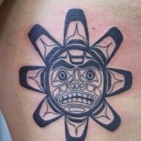 Mayan tribal sun symbol tattoo