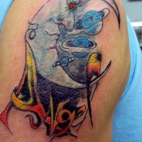 Moon crescent with planets tattoo