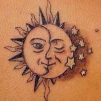 Humanized sun and moon tattoo