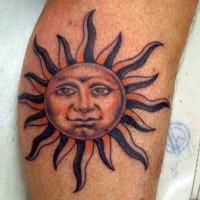Humanized sun tattoo on arm