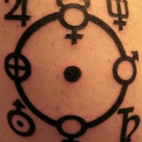 Astrologic symbols black ink tattoo