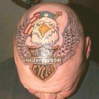 Harley davidson logo tattoo on head