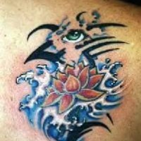 Flower in waves with eye tattoo