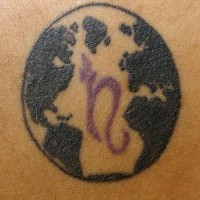 Earth with symbol tattoo
