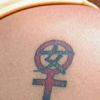Chinese hieroglyph with planet symbol tattoo