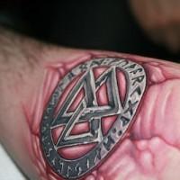 Stone scandinavian symbol tattoo