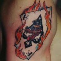 Flaming ace of spades card tattoo