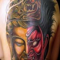 Large two sided shiva hindu tattoo on back