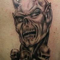 Creepy demon with horns in skulls