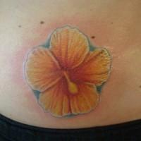 Tattoo of yellow hibiscus flower