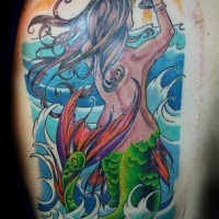 Mermaid with grail colourful tattoo