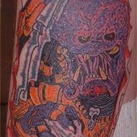 Colorato predatore e cranio tatuaggio