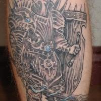 Impresionante tatuaje del guerrero armado en negro con los elementos azules