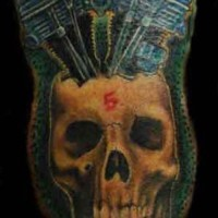 Car engine and skull artwork tattoo