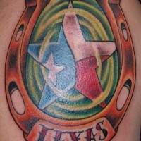 Texas state horseshoe tattoo