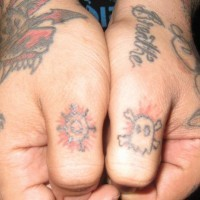 Thumb tattoo, different signs, sun, skull