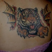 Tiger and dragon wings tattoo