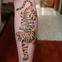 Asian crawling tiger tattoo