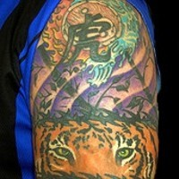 Tiger eyes with hieroglyphs tattoo