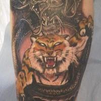 Tiger slaying black dragon tattoo