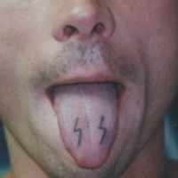 Ss division tongue tattoo