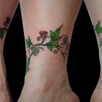 Colored tree wrist tattoo of vine