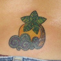 Palm tree tattoo with sun and sea waves
