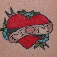 Love mom heart shaped tattoo