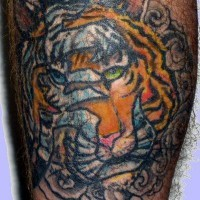 Chinese hieroglyph with tiger tattoo