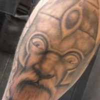 Viking warrior with big eyes in helmet  tattoo