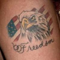 Freedom eagle and american flag tattoo