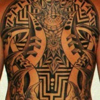 Mechanical tattoo on upper back with  different parts