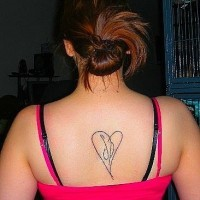 Letters tattoo in thin heart on upper back