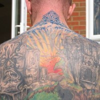 City tattoo of  living stones on upper back