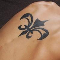 Iron flower  tattoo black  image on upper back